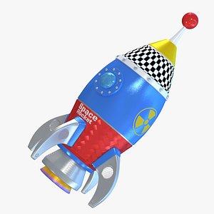 cartoon space rocket 3D model
