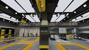 Industrial Loft Automobile Maintenance Shop 3D model