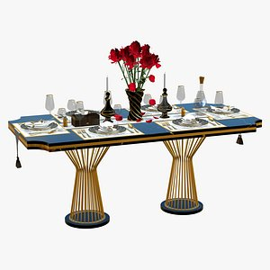 3D Luxury Dining Table Set 6 Seater