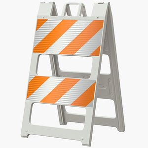 3D model roadworks barricade road