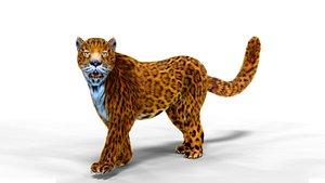 3D model Realistic  Fur Leopard Rigged