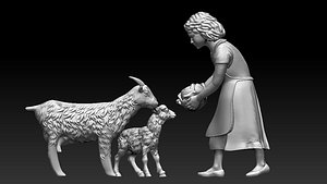 3D girl and goats model
