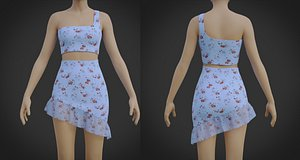 Ruffle Asymmetrical Croptop and Miniskirt Dress- 2 Piece Summer Outfit 3D