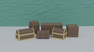 3D Low-poly cartoon medieval wooden crates kit