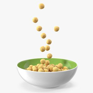 3D Cereal Balls Falling into Bowl