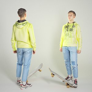 3D Young man on skateboard 333 model