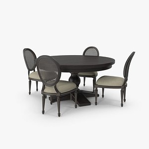 Round Dining Table Set for 4 Persons 3D