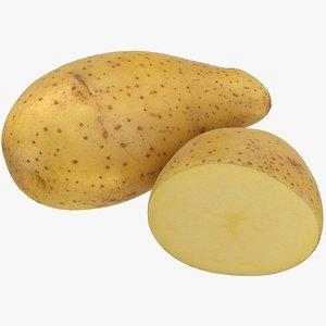 Raw Potato And Half Potato 3D model