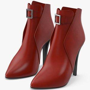 3D Leather Boots Women model
