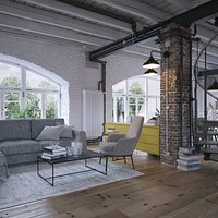 High Realistic vintage Industrial Loft Apartment with Brick walls and Arc Windows