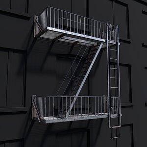 3D Fire Escape Ladder model