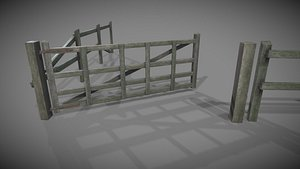 3D model old wooden fence gate