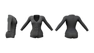 Ladies Mini Shorts and Jacket Suit 3D