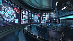 Control Room, Monitoring room, command center 3D
