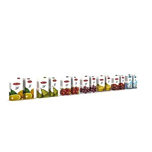 3D market milk and juice varieties model