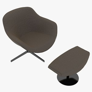 Cassina 277-22 Auckland Arm Chair and 277-42 Auckland Ottoman Taupe Fabric Black Body 3D