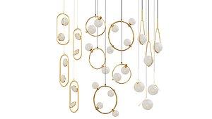 3D model set chandeliers lamp