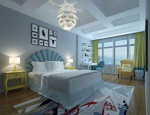 3D Bedroom Postmodern Bedroom Master Bedroom Simple Bedroom Deluxe Bedroom European Bedroom Children's