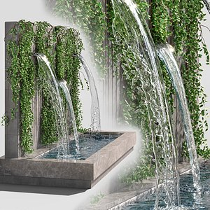 3D Fountain Wall with Ivy model