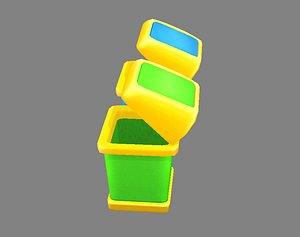 3D trash trashcan