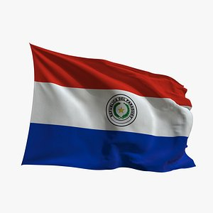 3D Realistic Animated Flag - Microtexture Rigged - Put your own texture - Def Paraguay