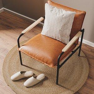 3D set faux leather lounge model