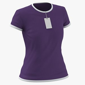 Female Crew Neck Worn With Tag White and Purple 02 model