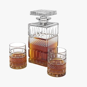 3D whiskey decanter glasses model