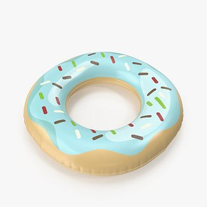 3D Donut Pool Float with Blue Topping