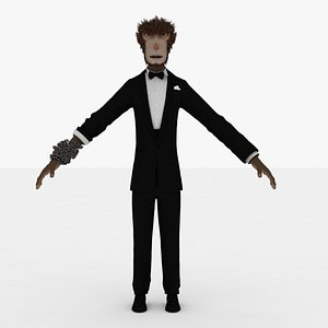 Monkey in Suit Rigged 3D