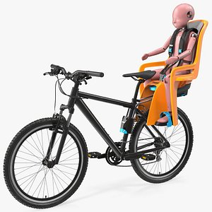 3D Bike with Child Crash Test Dummy in Thule Safety Seat model