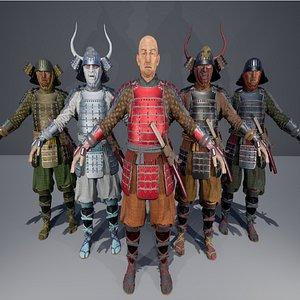 3D samurai warrior war model