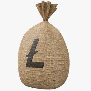 3D Money Bag v5 Litecoin with Pbr 4K 8K model