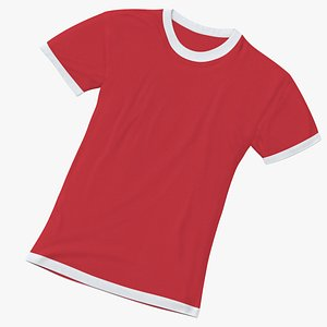 3D Female Crew Neck Laying White and Red 01