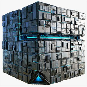 Borg Cube Space Station Ship Box  Lowpoly 3D model