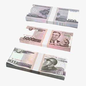 3D model North Korea Banknotes Bundles Collection