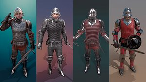 3D knight male character model