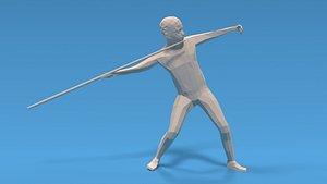 3D Low Poly Kid Javelin Throw