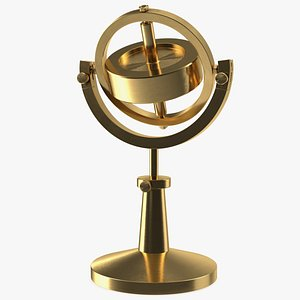 Vintage Brass Lecture Gyroscope Rigged 3D model