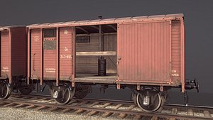 railway covered goods wagon 3D