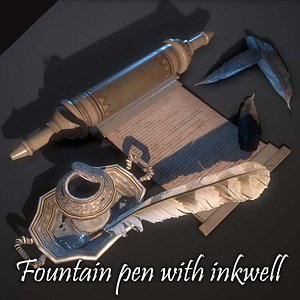 Fountain pen with inkwell Low-poly 3D model