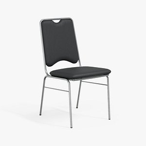 3D Contract Dining Chair black leather model