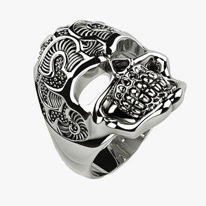 3D Gold Silver Skull Ring with Rhoduim Plating