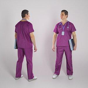 3D Male doctor in purple uniform with folder 302 model