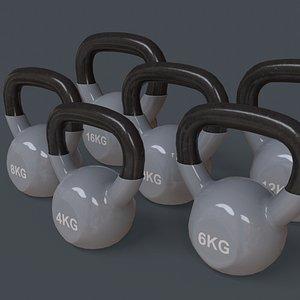 PBR 4-16KG Kettlebell V1 - Grey 3D