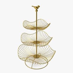 3 Tier Metal Fruit Basket 3D model