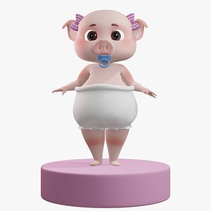 3D Pig Girl with Bowtie Rigged