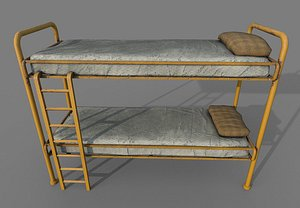 3D Old Yellow Bunk Bed Mattress and Pillows model