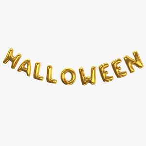 Foil Ballon Words Halloween Gold 3D model