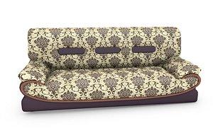 3 Sit flower Pattern sofa 3D model